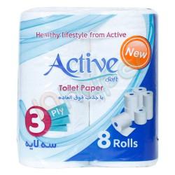 دستمال توالت سه لایه اکتیو 8 رول