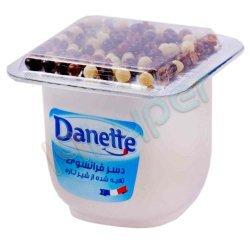 دسر وانیلی همراه با دراژه های مغزدار دنت 100 گرم