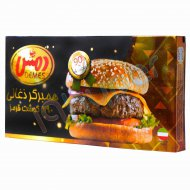 همبرگر ذغالی 90 درصد گوشت قرمز دمس 4 عدد
