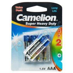 باطری نیم قلمی مدل super heavy duty A3 کملیون بسته 6 عددی