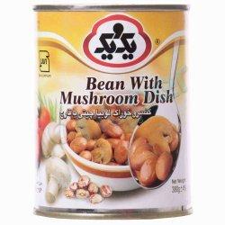 کنسرو خوراک لوبیا چیتی با قارچ یک و یک 380 گرم