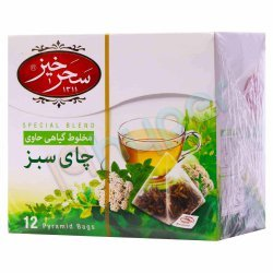چای سبز کیسه ای مخلوط گیاهی سحرخیز 12 عدد